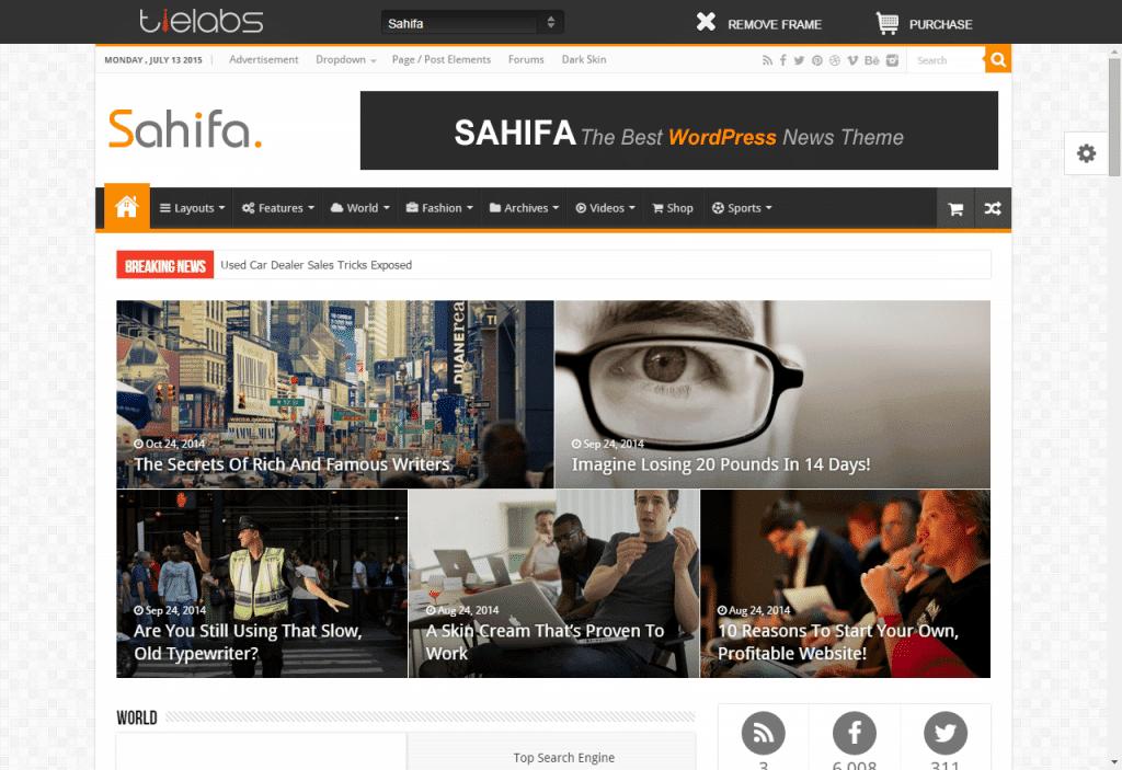 סאהיפה - Sahifa - תבנית למגזין, עיתון, בלוג